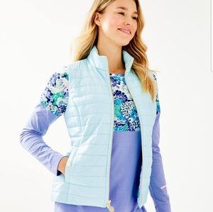 Lilly Pulitzer puffer vest in Whisper Blue